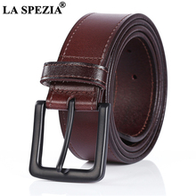 LA SPEZIA Men Casual High Quality Belt Genuine Leather Male Cowskin Brown Black Pin Buckle for Jeans 120cm