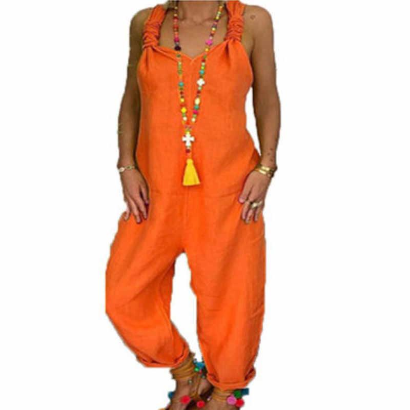Gaoke 2020 Fashion Casual Zomer Vrouwen Bib Cargo Losse Hiphop Harembroek Solid Jumpsuit Romper Plus Size