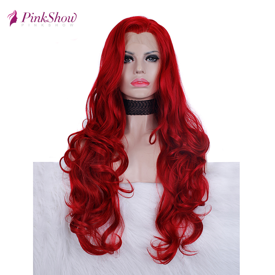 Pinkshow Red Wig Synthetic Lace Front Wig For Women Long Wavy Glueless Heat Resistant Fiber Cosplay Wig