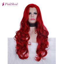 Pinkshow Red Wig Synthetic Lace Front Wig For Women Long Wavy Glueless Heat Resistant Fiber Cosplay Wig(China)