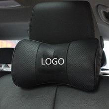 Oreiller de cou pour siège de voiture, Logo personnalisé, en cuir véritable, repose-tête, accessoires automobiles, 2 pièces