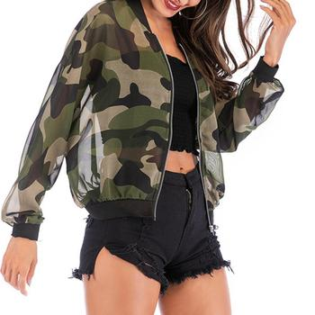 MISSKY Spring Autumn Woman Coat Casual Camouflage Jacket Sun-protective Outwear for Camping Hiking Female Tops