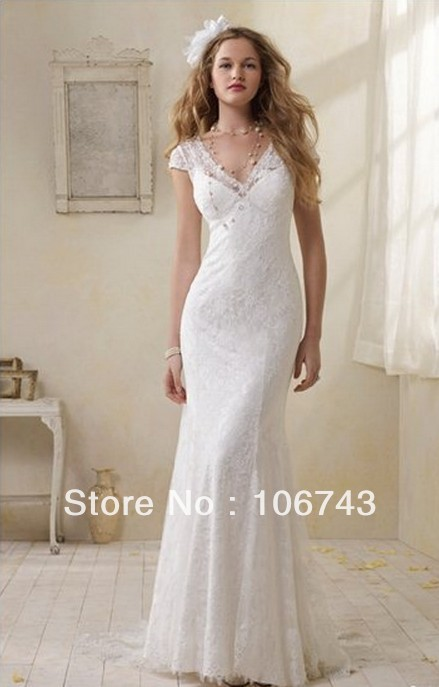 Free Shipping Style Hot Sell Sexy Bride Gown Custom Sizes Lace Quality V-neck Classic Buttons Cap Sleeves Vintage Wedding Dress