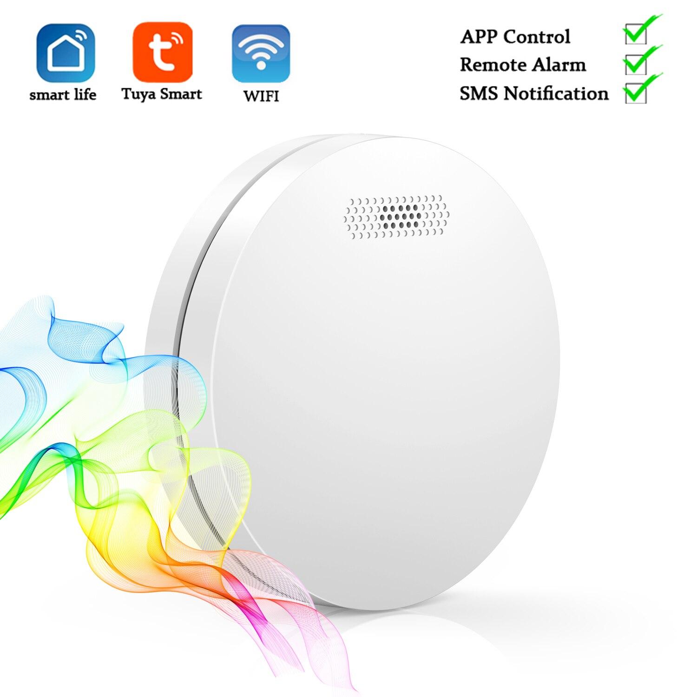 Tuya Smart Life APP Управление домашняя пожарная сигнализация с ультра-тонкий WI-FI детектор дыма Сенсор, Батарея в комплекте