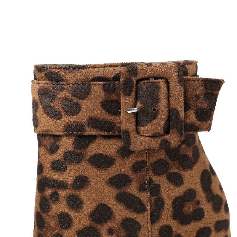 estilo europeu leopardo grão botas femininas cabeça