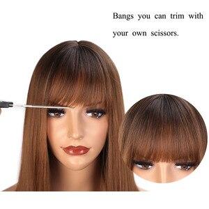 Image 4 - AISI 髪ロングストレート前髪ダークルートオンブル茶色のかつら女性 18 インチ自然な髪コスプレかつら