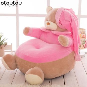 Krzesełko dziecięce pufa dzieci miś fotel kanapa pluszowe zabawki lalki rogu siedzenia Puff Ottoman Tatami Futon mebelki dziecięce tanie i dobre opinie OTAUTAU CN (pochodzenie) Chair kids cartoon velvet Around 50x50cm