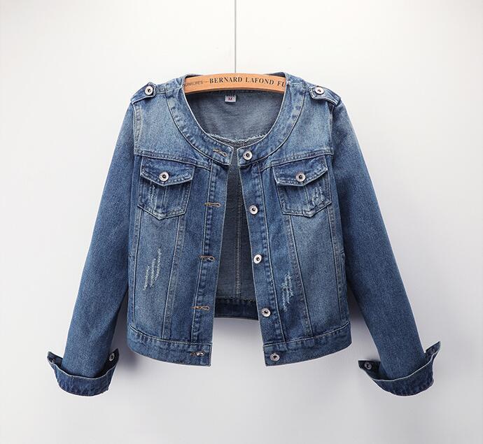 New Quality 2019 New Women's Jacket Round Neck Casual Short Coat Large Size Denim Jacket Female Students