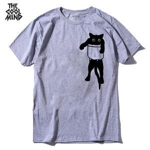 COOLMIND QI0232A 100% хлопковая свободная Стильная мужская футболка с принтом кота Повседневная забавная Мужская футболка с коротким рукавом и круглым вырезом