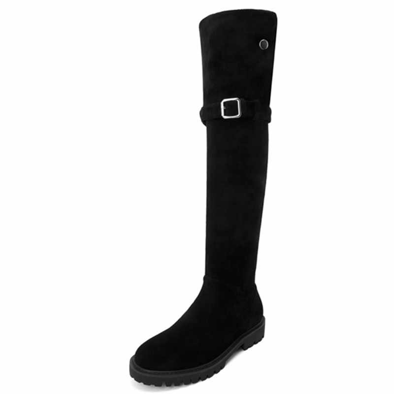 FEDONAS hiver mince femmes laine chaude sur le genou bottes hautes femme boucle troupeau longues bottes d'équitation chaussures de fête femme bottes de neige