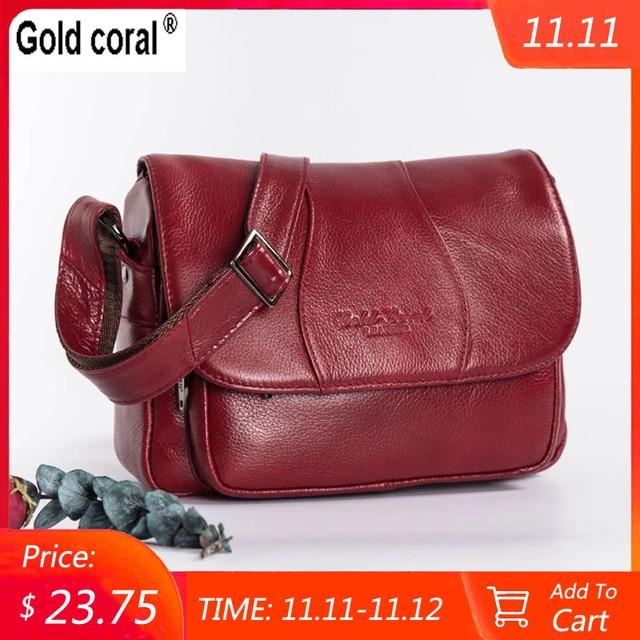 GOLD CORAL Genuine Leather Ladies Shoulder Bags Luxury Womens Handbag Female Fashion Crossbody Bags for Women Tote Purse