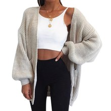 PUIMENTIUA Autumn Winter Batwing Sleeves Knitwear Cardigan Women Large Size Knitted Sweater Cardigan Female Fashion Jumper Coat(China)