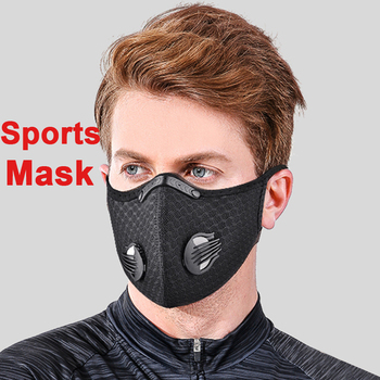 Reusable Washable Face Mask With Filter Breathing Valve Activated Carbon PM 2.5 Bicycle Cycling Protection Bike Dust Sports Mask