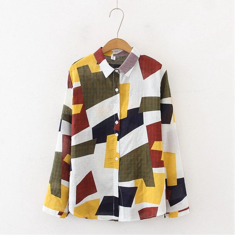 Chiffon Blouse Women Geometry Pattern Lapel Blouses Ladies Vintage Long Sleeve Tops Female Shirt