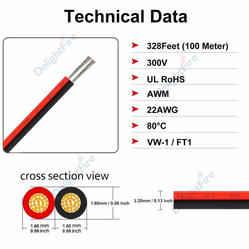2 rolo 100m led strip conector cabo
