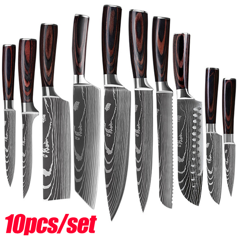 1-10PCS kitchen knives Set Laser Damascus pattern chef knife Sharp Santoku Cleaver Slicing Utility Knives Resin Handle