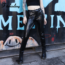 Fitshinling Goth Dark PU Pencil Pants Women Punk Grunge Black Trousers 2019 Fashion Harajuku Faux Leather High Waist Pant Female