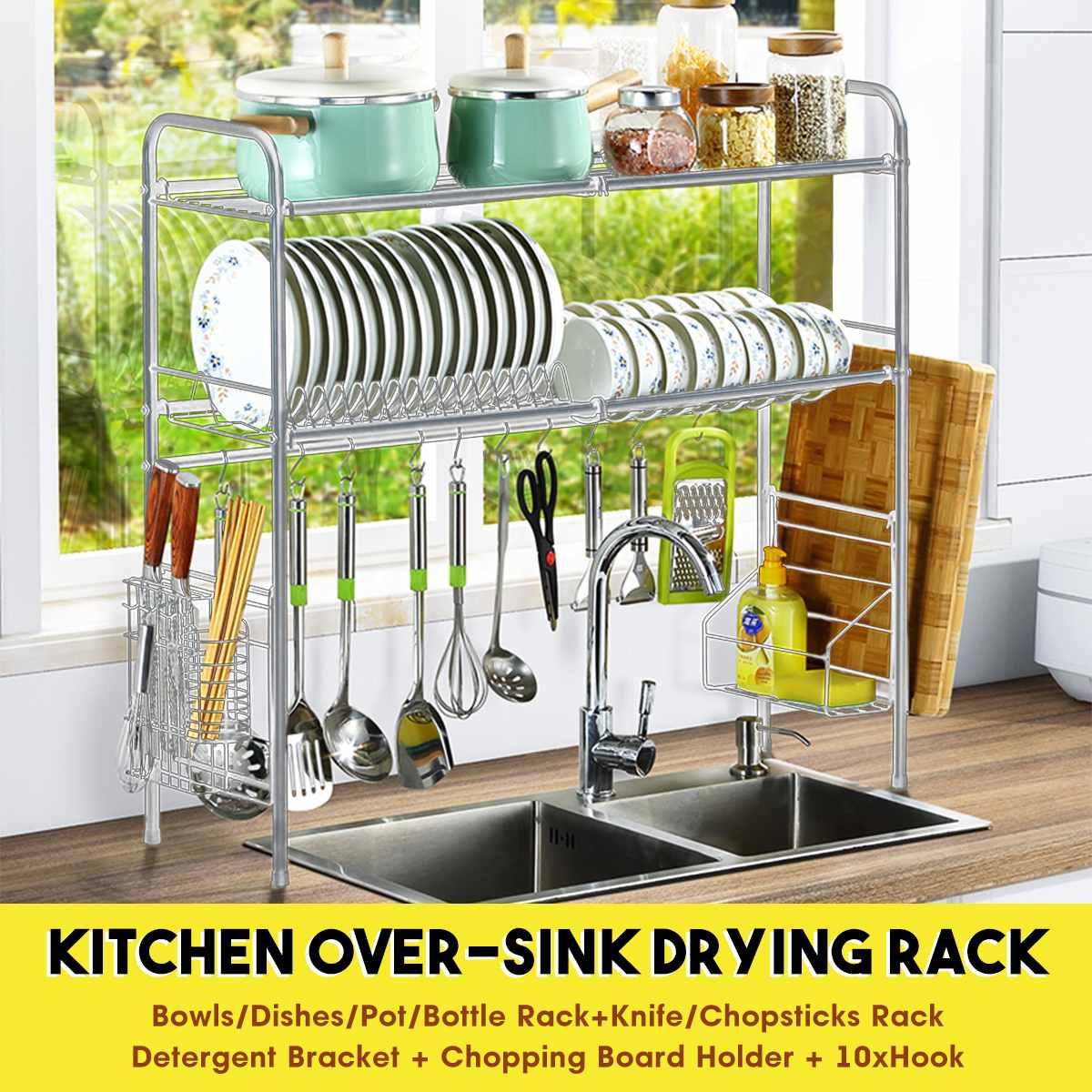 Single Double Tier Over The Sink Dish Drying Rack Holder Shelf