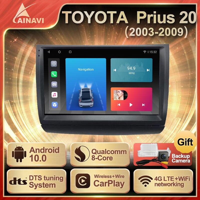 Автомобильный радиоприемник Android 10,0 QLED экран для Toyota Prius 20 2003-2009 Автомобильный стерео Мультимедийный видеоплеер навигация Carplay No 2din