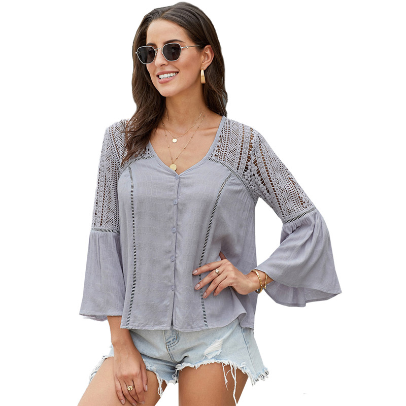 Women's Crochet Shirt Solid Color Sexy V-neck Flare Long Sleeve Tops