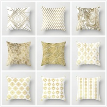 Fuwatacchi Gold Geometric Cushion Cover Wave Dot Leaf Pillow Cover for Home Sofa Chair Decorative Pillows White Pillowcase цены