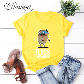 цена на Elimiiya Pug Animal Print T Shirt Women Cotton Tshirt Funny Cartoon Tops Fashion Casual streetwear Tees женская футболка