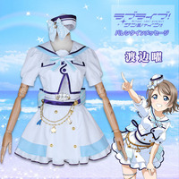 Anime cosplay Love live Aqours Watanabe You 6th anniversary party costume lolita sailor suit A