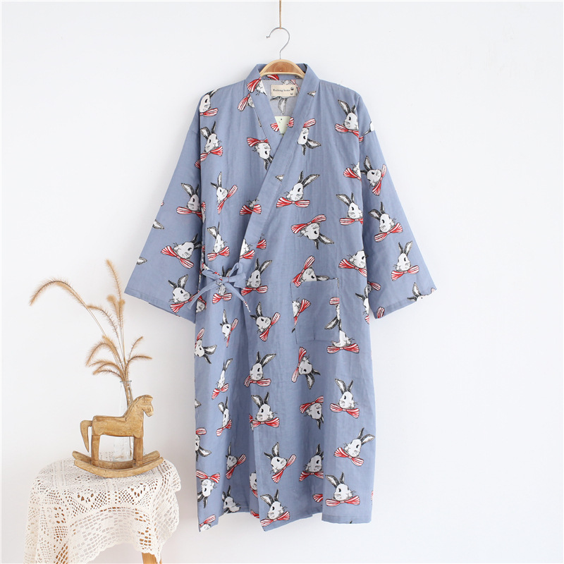 Women's Robes Women's Summer Pure Cotton Japanese Style Thin Casual Mid-length Loose-Fit Bathrobe Pajamas Sweet Cute Sauna Home