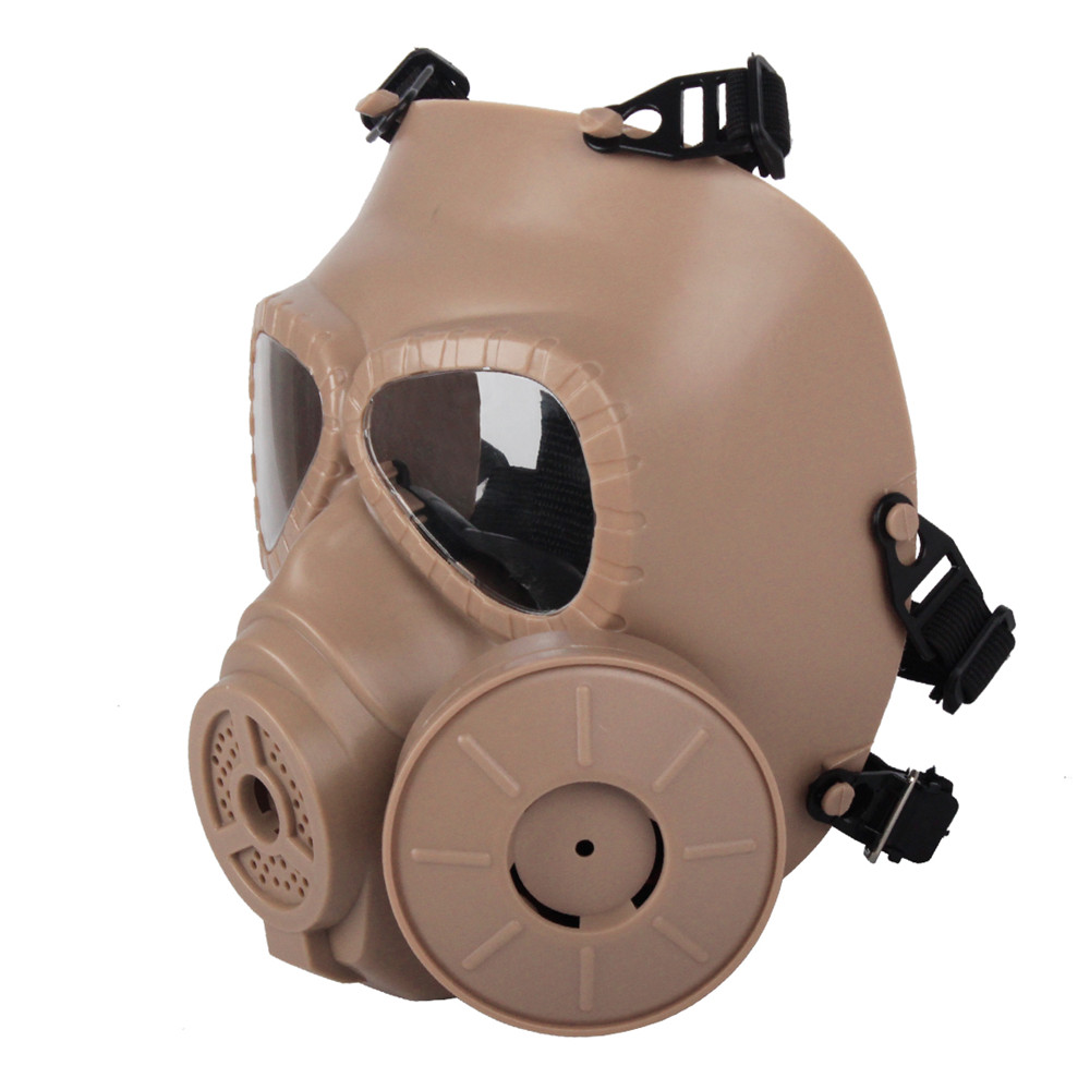 Black /Green/Tan Color 2pcs/lot Tactical Plastic Mask Full Face Gas Masks With Fan For Airsoft Paintball