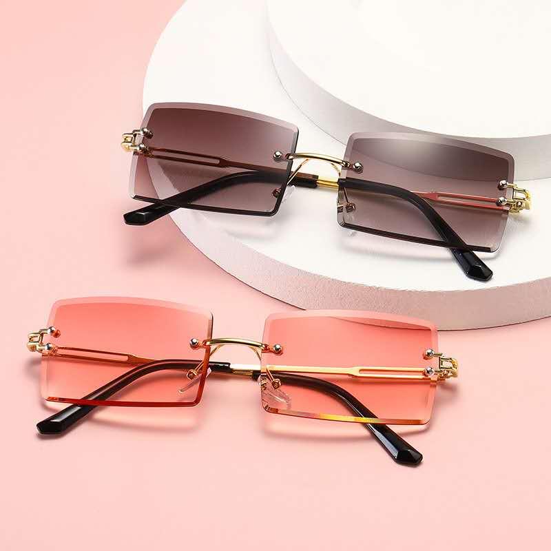 2020 Retro Sonnenbrille Frauen Marke Designer Mode Randlose Gradient Sonnenbrille Shades Schneiden Objektiv Damen Rahmenlose Brillen