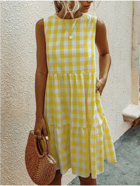 American Style Women Summer New Fashion Sleeveless Classical Simple Basic Vintage Plaid Patchwork Round Neck Casual Sweet Dress 3
