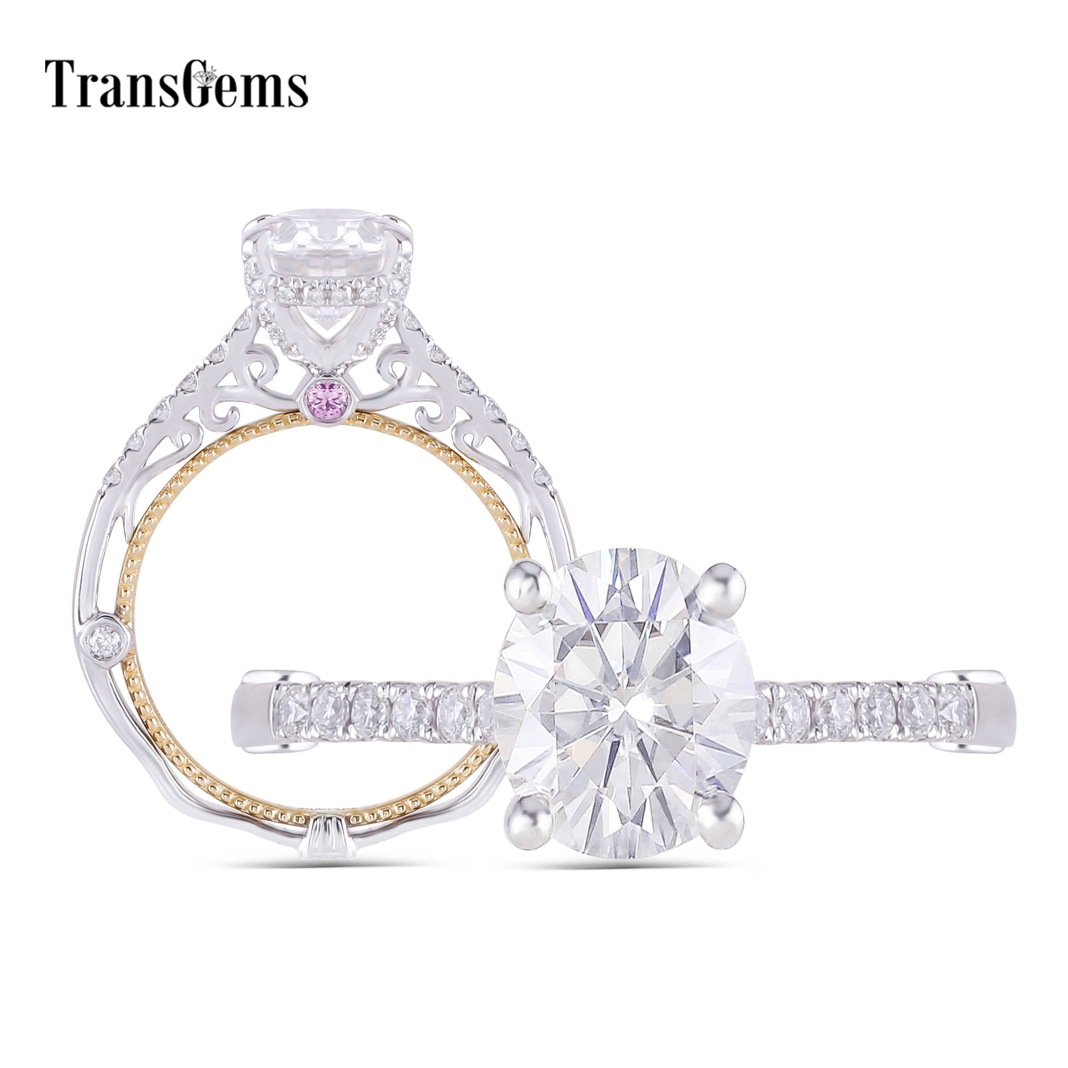 Transgems 14K White and Yellow Gold Center 2ct Oval F Color