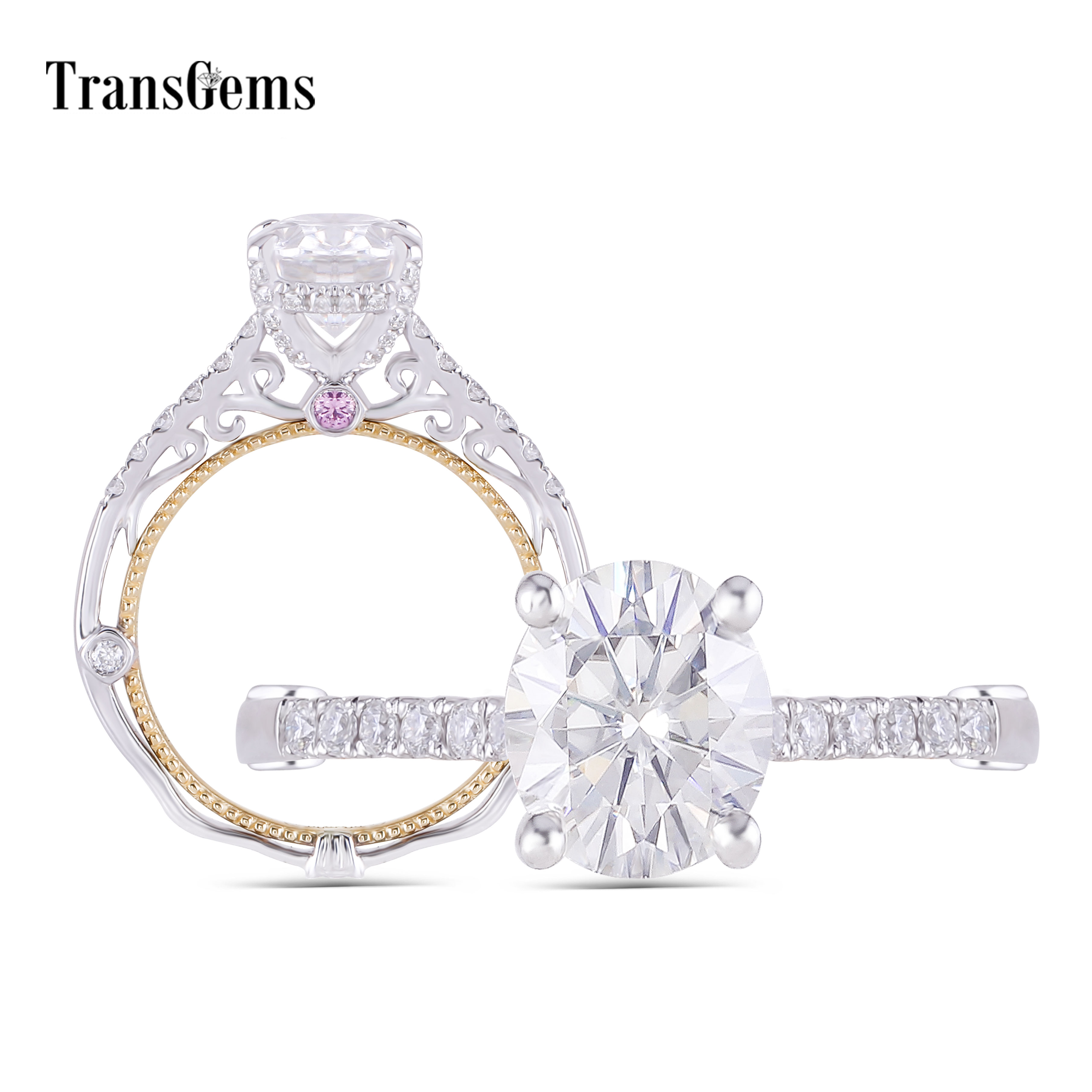 Transgems 14K White and Yellow Gold Center 2ct Oval F Color Moissanite Engagement Ring with Pink Sapphire Anniversary Gifts
