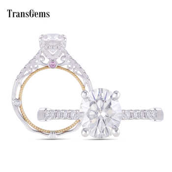 Transgems 14K White and Yellow Gold Center 2ct Oval F Color Moissanite Engagement Ring with Pink Sapphire Anniversary Gifts - DISCOUNT ITEM  5% OFF All Category