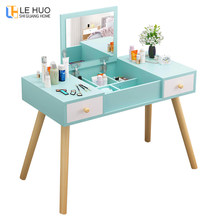 Nordic Dressers Wooden Dressing table With drawer mirror cosmetic organizer Storage cabinet Simple fashion bedroom Furniture(China)