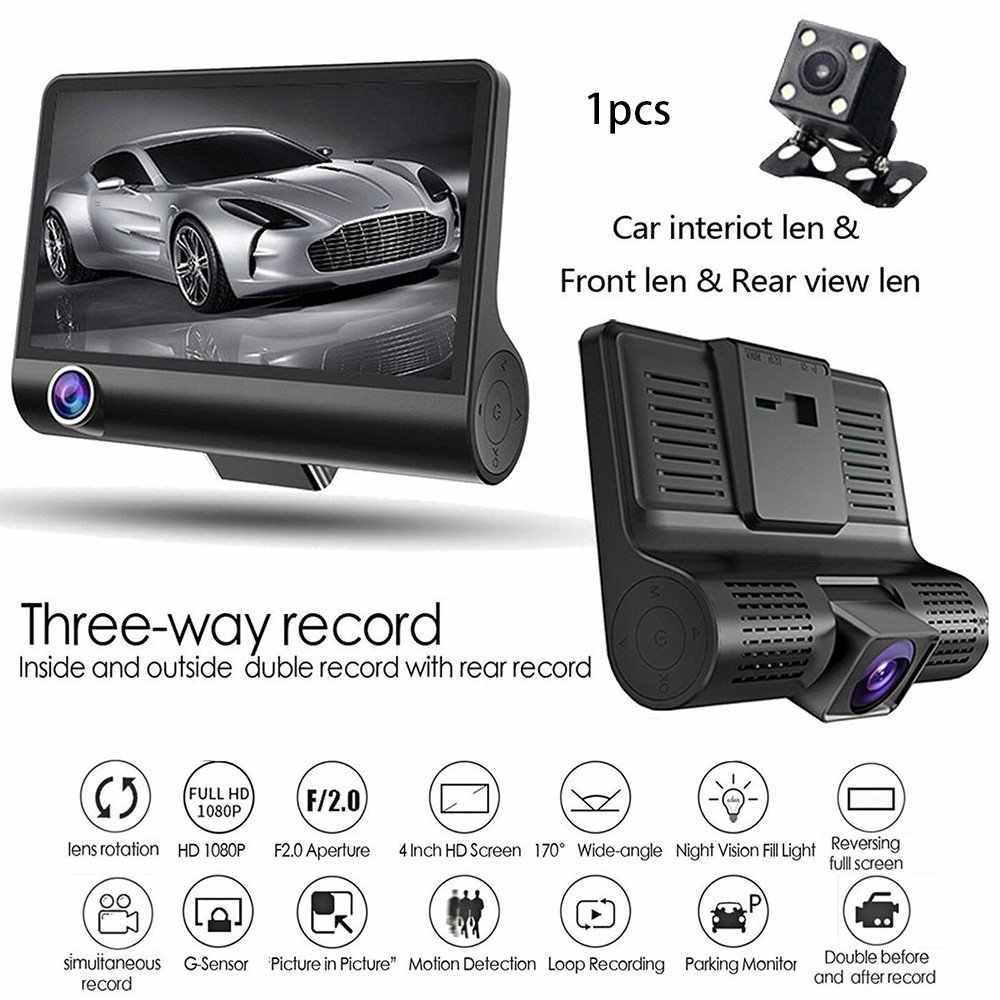 4.0 Inch Car DVR Camera Full HD 1080P Dual Lens Rearview Video Camera Recorder Auto Registrator Night Vision Dash Cam