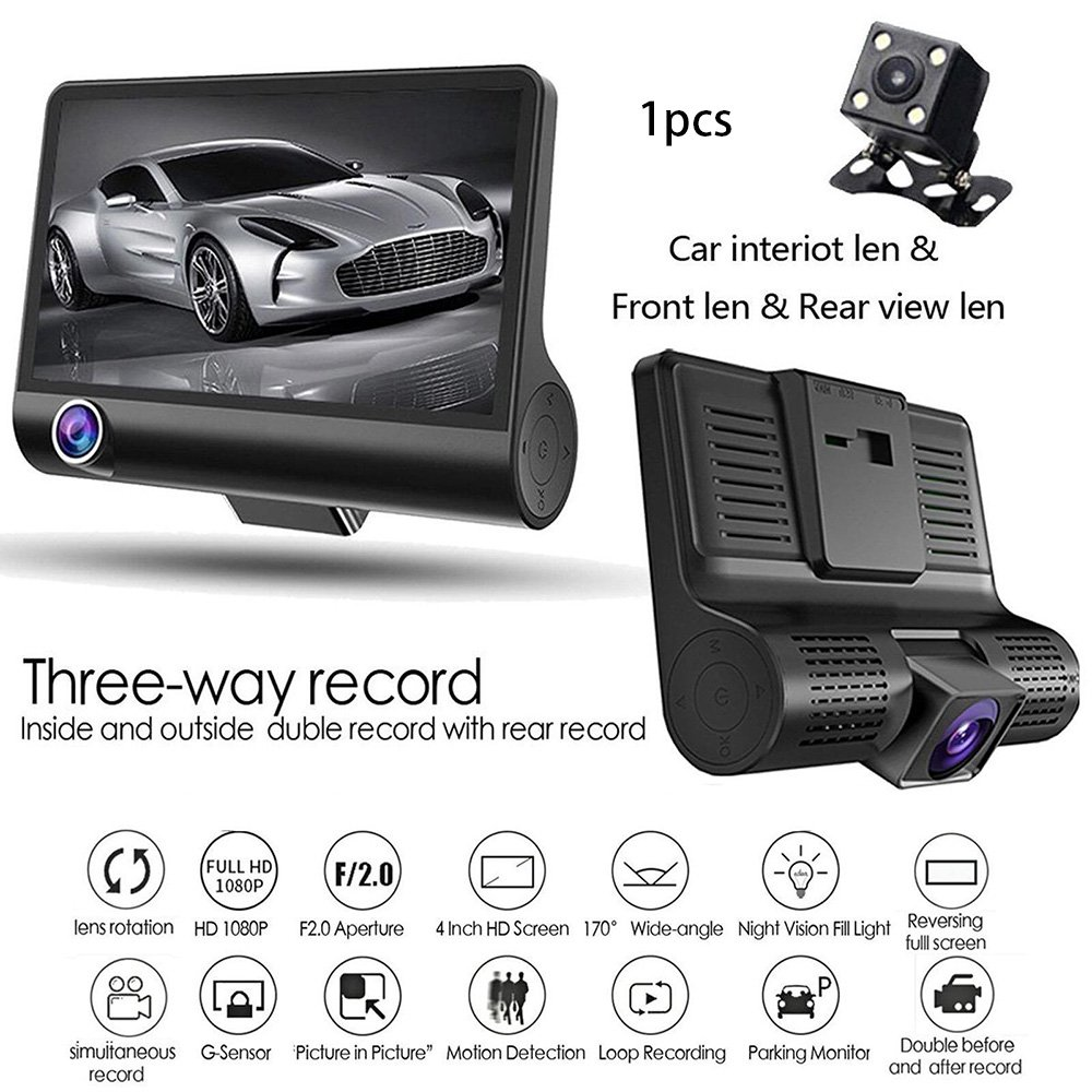 4.0 Inch Car DVR Camera Full HD 1080P Dual Lens Rearview Video Camera Recorder Auto Registrator Night Vision Dash Cam