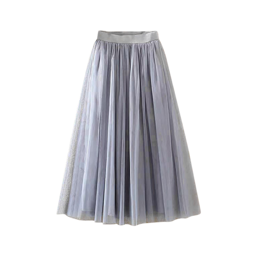 Japanese and Korean style Womens Skirt Pleated Tulle Mesh Elastic High Waist Casual A-Line Mid-Calf Loose Spring Elastic Skirts