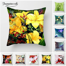 Fuwatacchi Sunflower Cushion Cover Lotus Lily Rose Pillow for Home Chair Decorative Pillows Flowers 45*45cm