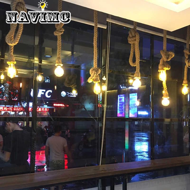 Современный винтажный Ретро пеньковый Канатный светильник подвесные светильники промышленные светодиодные лампочки для декора