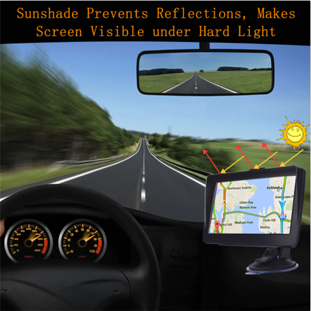Auto GPS navigator 7 zoll HD lincoln navigutorFM Bluetooth stimme auto alarm auto-navigation mit sonnenschirm clip 256MB neueste europa