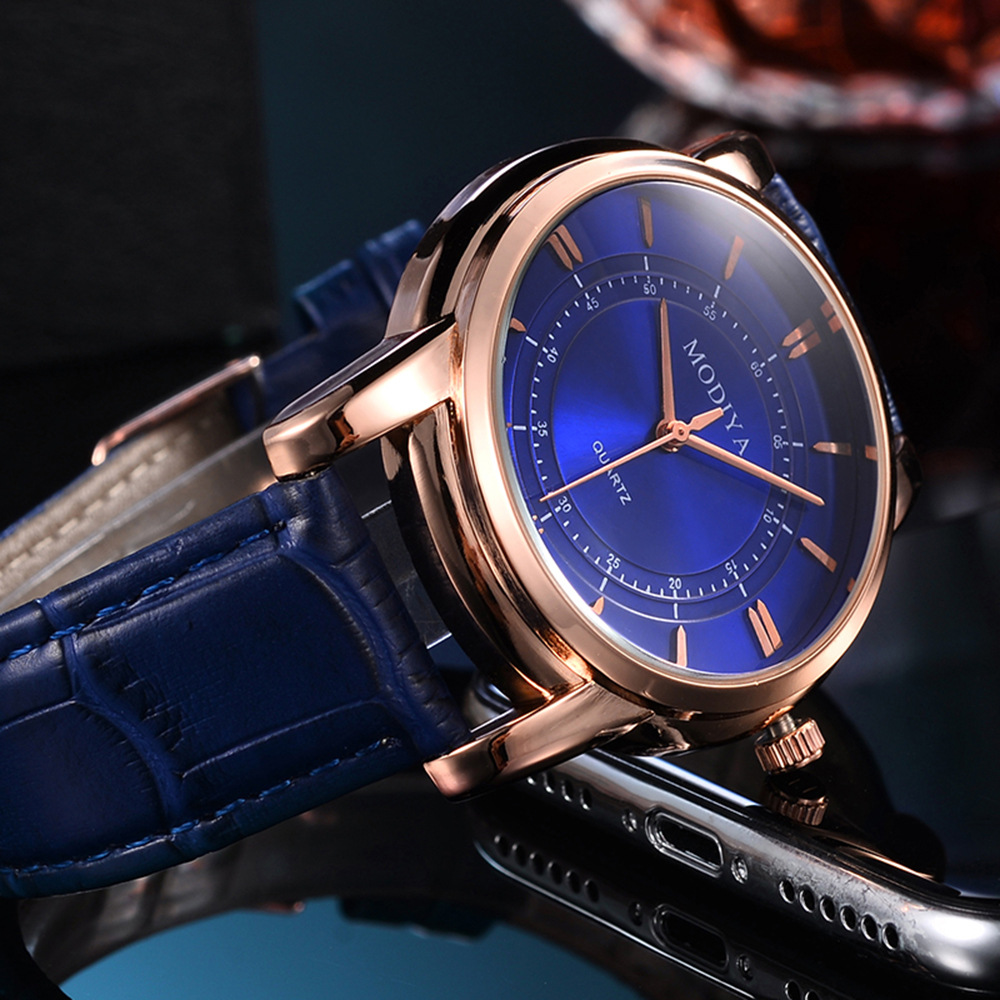 2020 New Fahsion MODIYA Brand Watch Men Leather Band Business Wristwatch Quartz Casual Clock Mens Relogio Masculino Gift Reloj