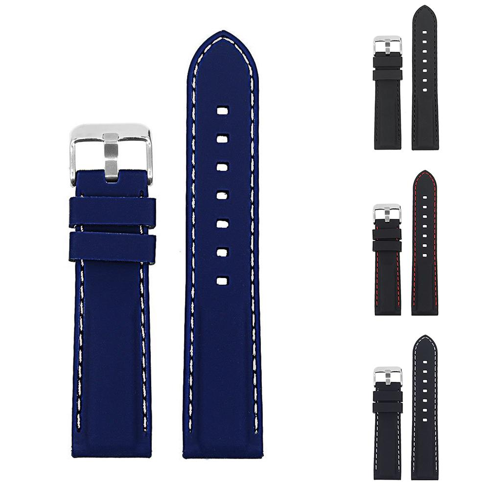 18mm-24mm Width Fashion Soft Silicone Watch Strap Band Buckle Watchband Replacement Wristband Watch Strap New