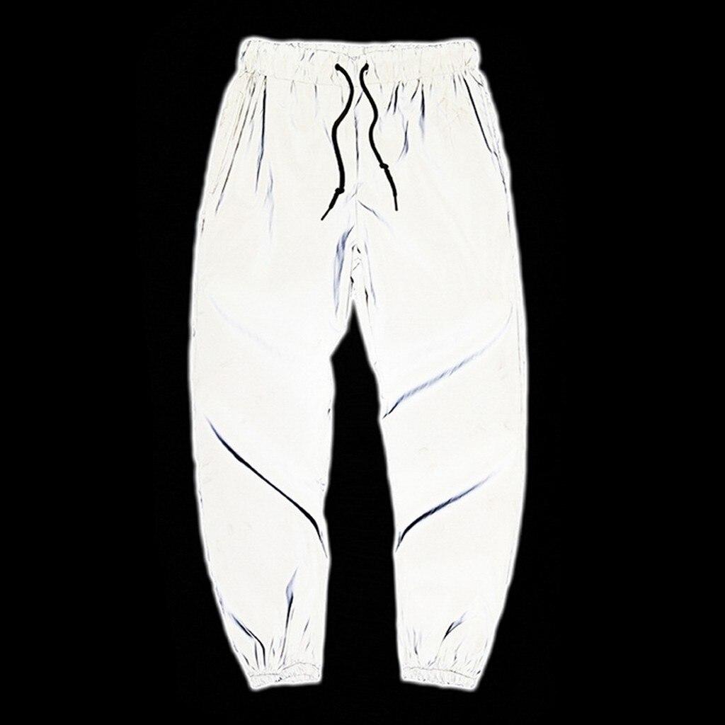 Mens New Style Fashion Long Pants Drawstring Elastic Waist Sport Trousers Reflective Pants Men Pantalones Reflectantes Hombre
