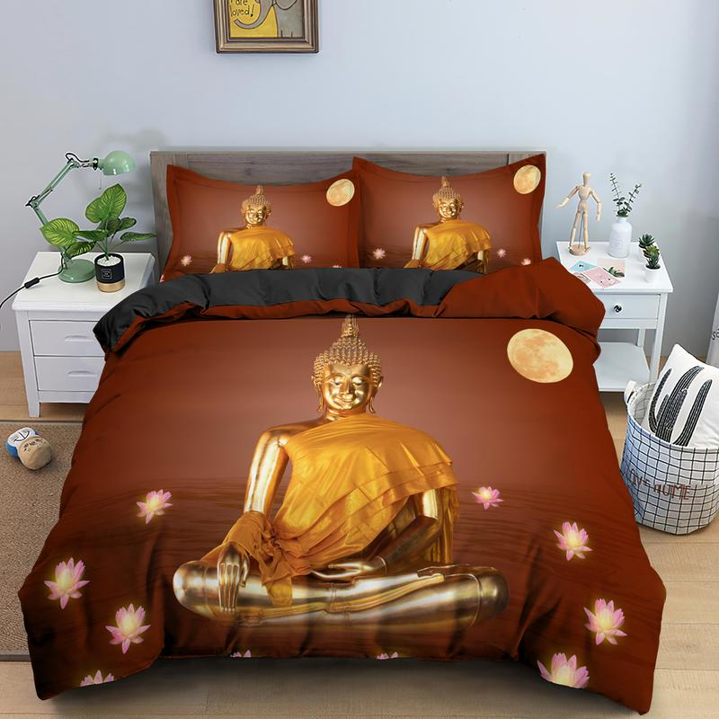 AU/UK/EU/US Size Bedding Set Buddha Statue Printing Single Double King Queen Duvet Cover With PIllowcase 2/3pcs Bedclothes