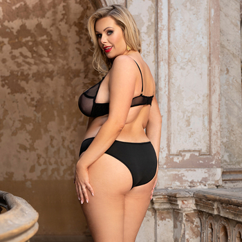 Comeondear Thong Set Sexy Mesh Langerie Sets Plus Size Lingerie Femme Sexy Valentines Lingerie Lace Underwear Bra Set R80940