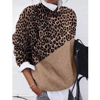 New Fashion Women O neck Loose Sweaters 2020 Autumn Winter Khaki Leopard Print Color-Block Long Sleeve Sweater [eam] women leopard big size long knitting dress new round neck long sleeve loose fit fashion tide autumn winter 2020 1da784