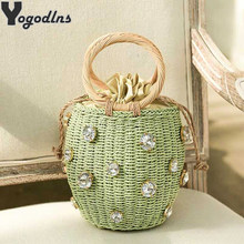 Summer Round Rattan Handmade diamond Pearl Bag Bohemian Straw Bag Bucket Knitting Shoulder Crossbody Bead Beach Bag Holiday Tote(China)