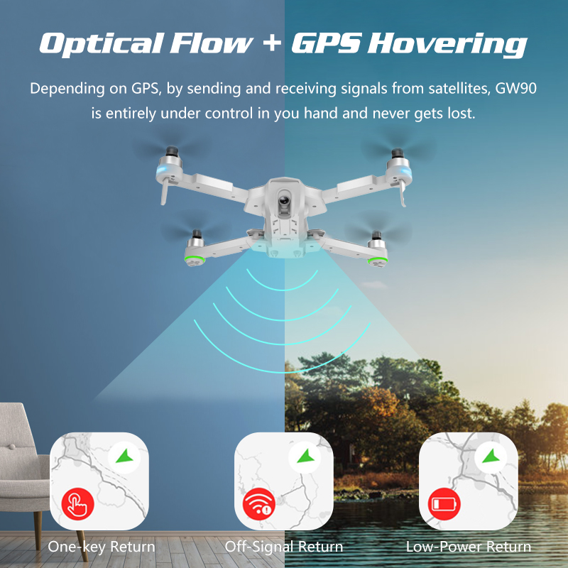 GPS 4K Drone Quadcopter with Camera HD Adjustable Gimbal Follow Me Wifi FPV Drone X Pro RC Dron VS Hubsan F11 E520S Zino SG907 (4K PRO HD)