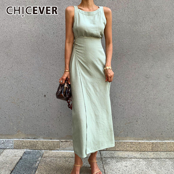 CHICEVER Summer Sleeveless Solid Dress Women O Neck Off Shoulder High Waist Bandage Elegant Midi Dresses Female Fashion 2020 New